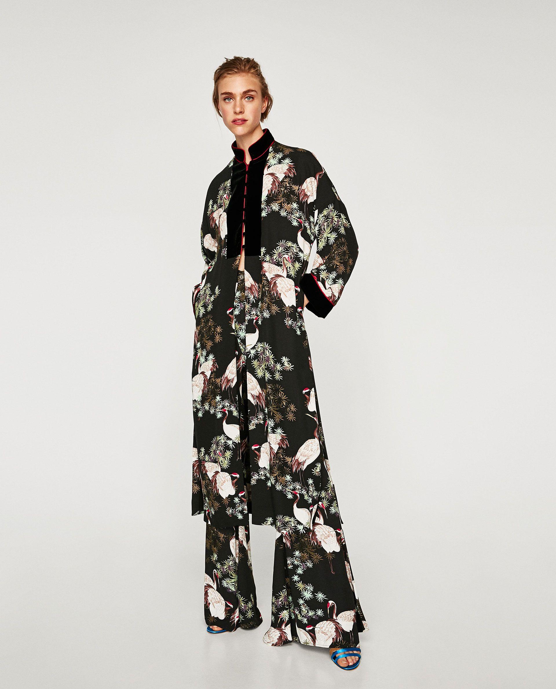 66b2de5195f7 KIMONO LARGO COMBINADO en 2019   Cool Kat   Kimono, Zara et Kimono ...