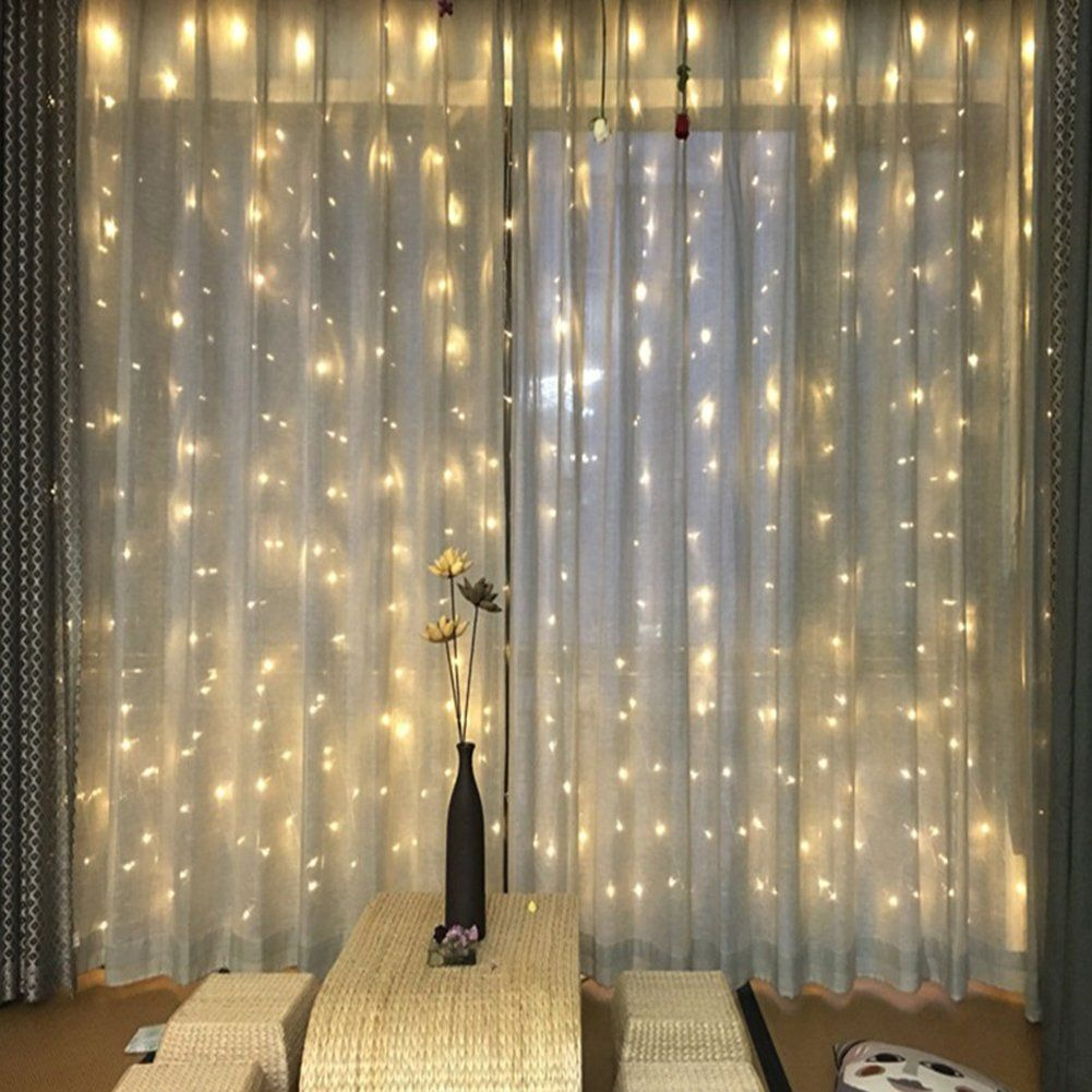 Partypeople Curtain Lights 9.8ft x 9.8ft 300 LED Fairy String Lights ...