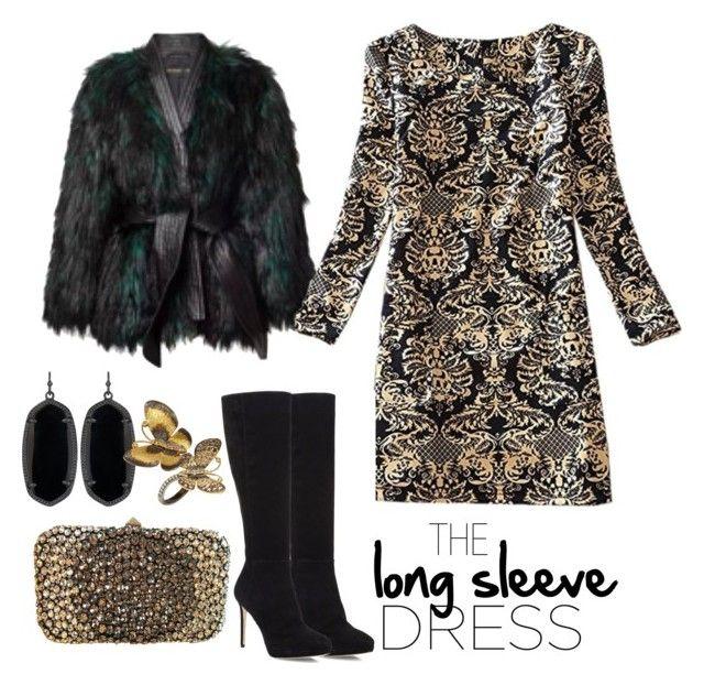 """tThe long sleeve dress"" by prettykittyzola ❤ liked on Polyvore featuring Balmain, Jimmy Choo, Valentino, Kendra Scott and Annoushka"