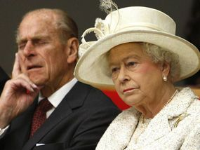 The Queen and the Duke listen to their 385,312th speech of welcome.....and neither of them look amused!!
