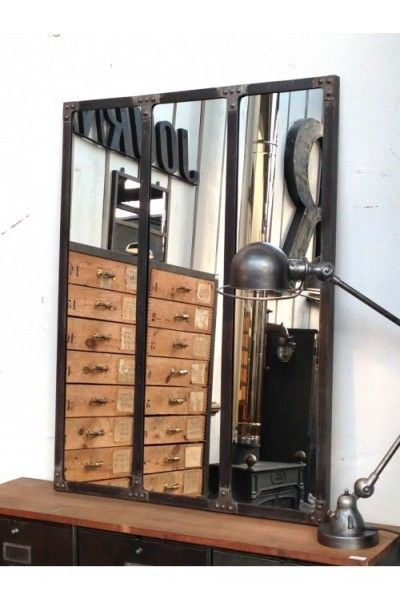 Miroir style atelier artiste verriere industrielle decoration loft maison chic d co - Miroir maison du monde industriel ...