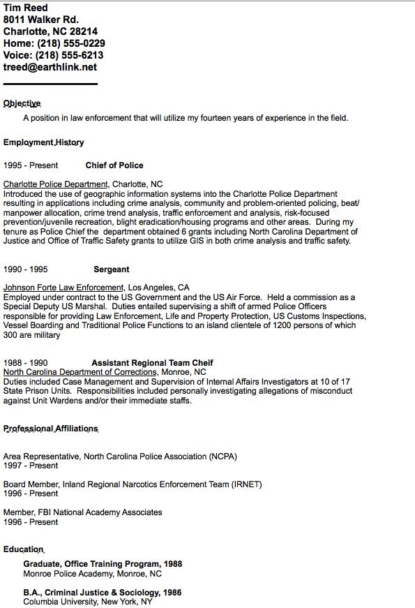 Example Of Chief Police Resume Resumesdesign Sample Resume Templates Resume Design Template Resume