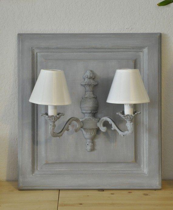 applique murale ancienne peinte en grise et patin e cottage pinte. Black Bedroom Furniture Sets. Home Design Ideas