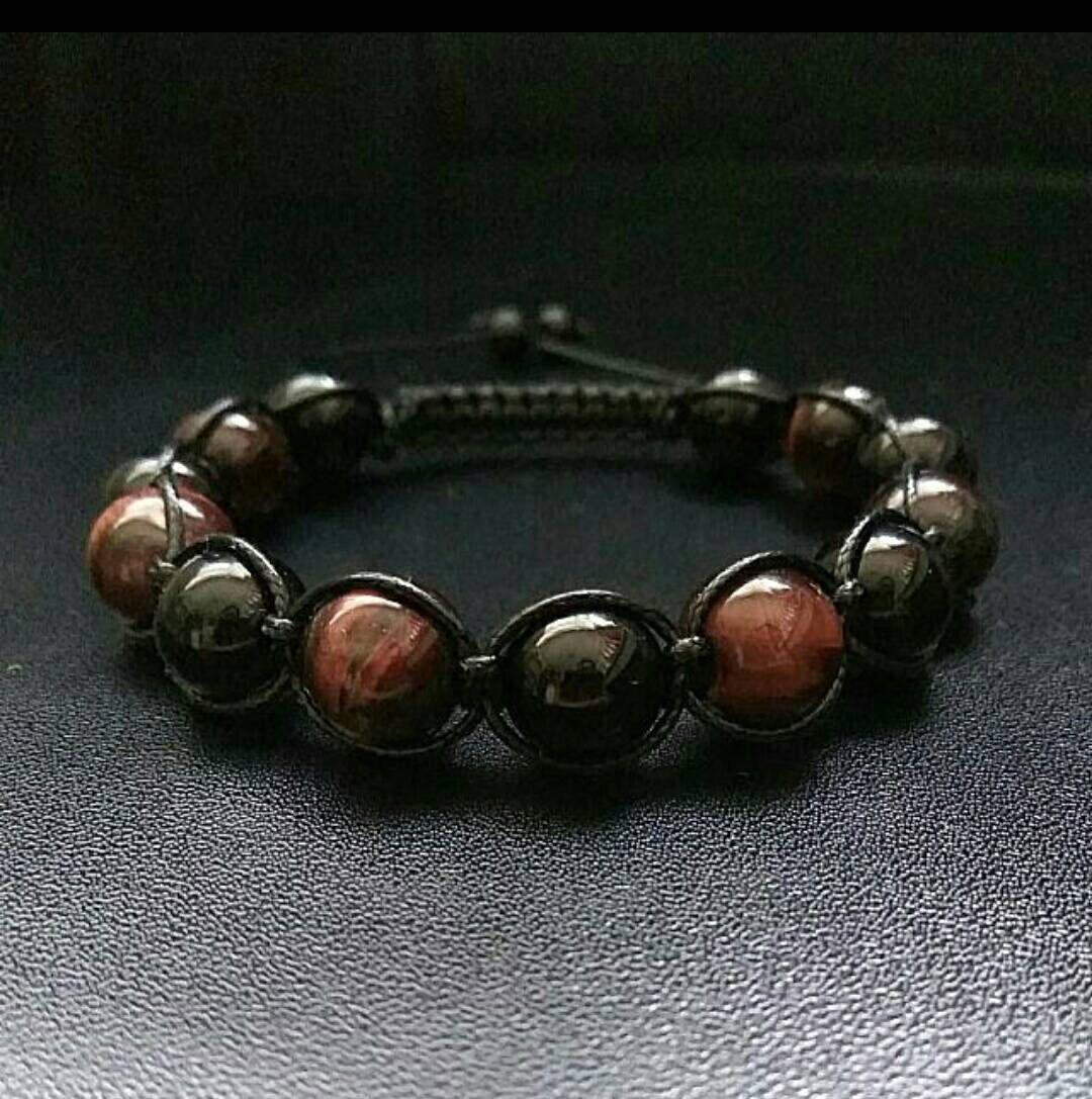 10mm Men Gemstones Shamballa Power Stone Macrame Adjustable Straps Bracelet Red Tiger Eye Onyx Gift For Men Father's Day Birthday Presents by ZenYogastones on Etsy