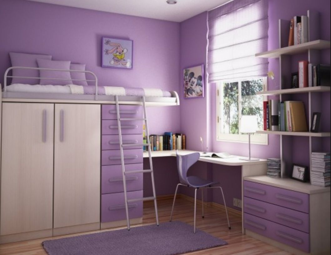 Cool purple bedroom!! With a loft bed!!