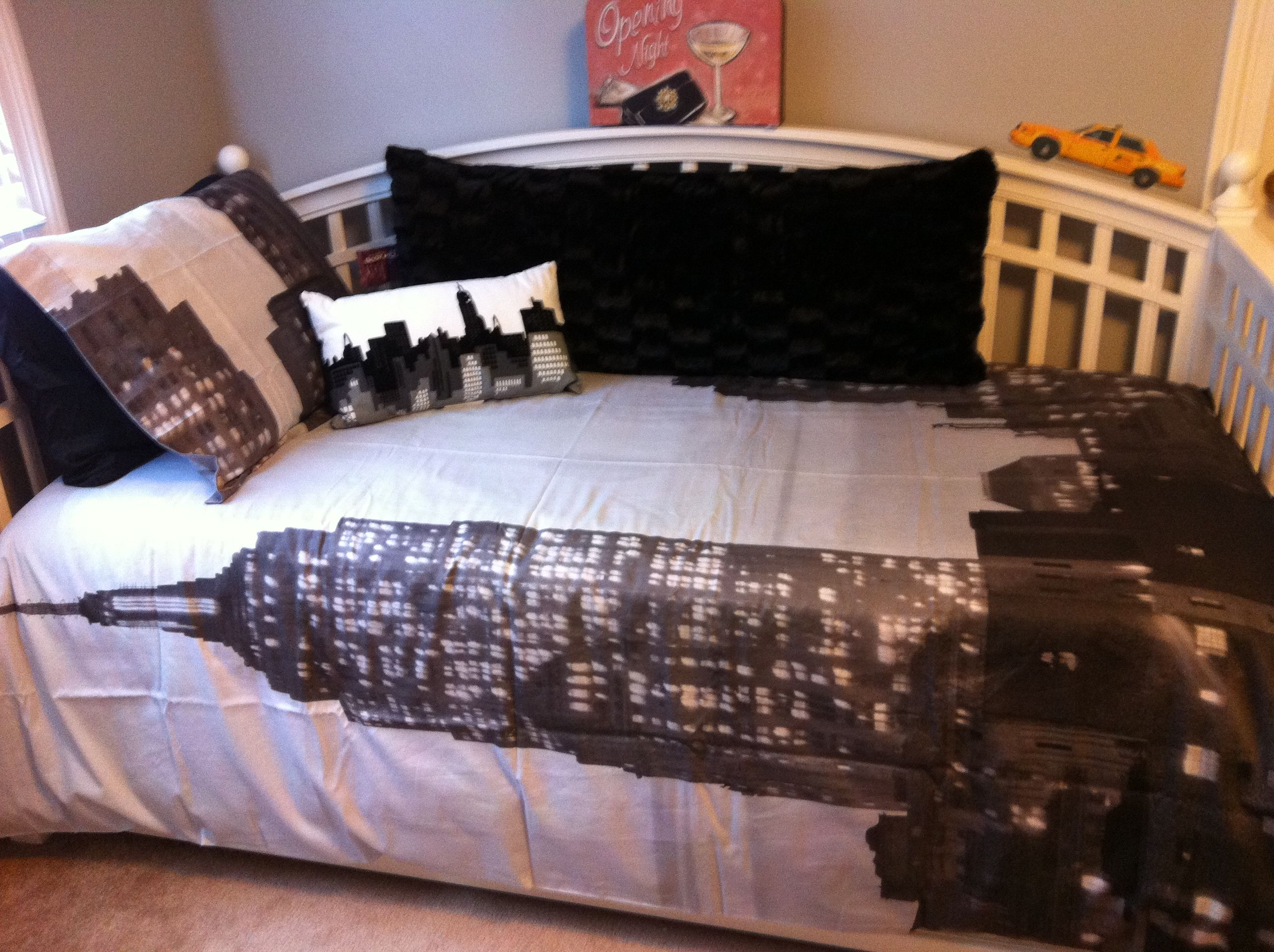 Addy's Broadway style room. Duvet from