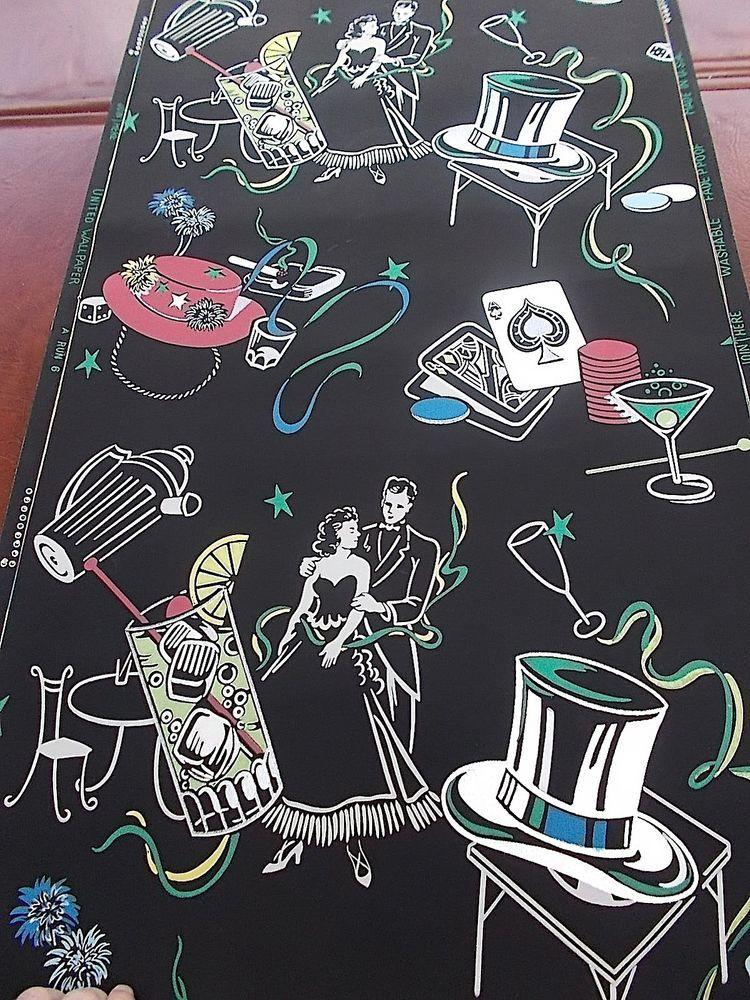 Vintage Wallpaper Roll Fabulous Vices Smoking Drinking Gambling Unique UnitedWallpaper