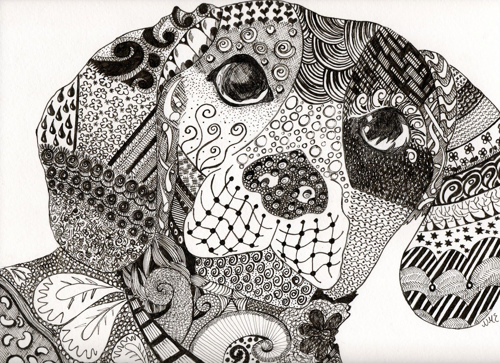 The Dog Of Zen Nic S Earth Zentangle Drawings Animal Coloring Pages Zentangle Animals