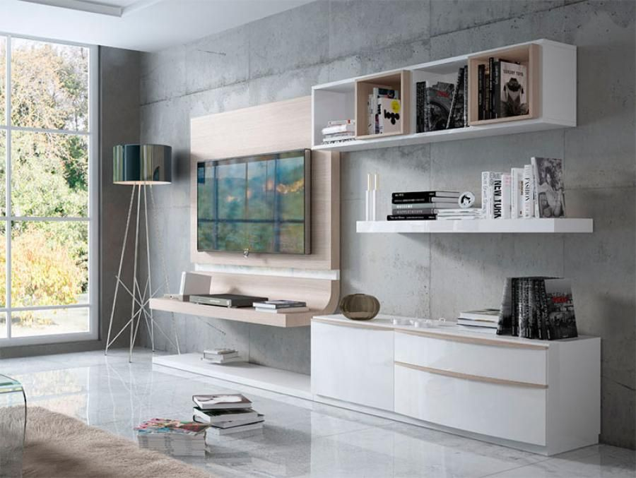 Fenicia Modern Wall Storage System With Floating Curved TV Unit And Shelving