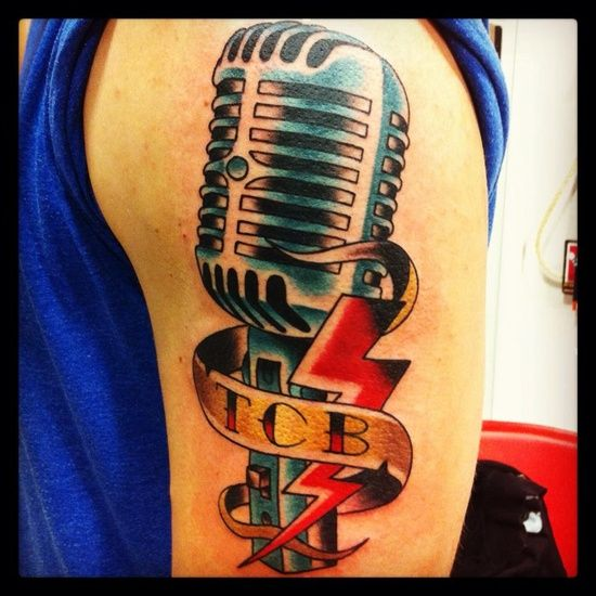 zombie microphone tattoo design new school style elvis mic photos from thelmo tattoos writing. Black Bedroom Furniture Sets. Home Design Ideas