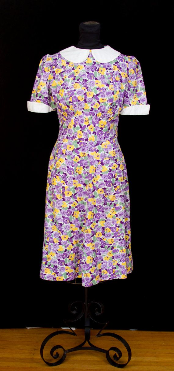 1940s Dress // Purple and Yellow Floral Cotton by GarbOhVintage