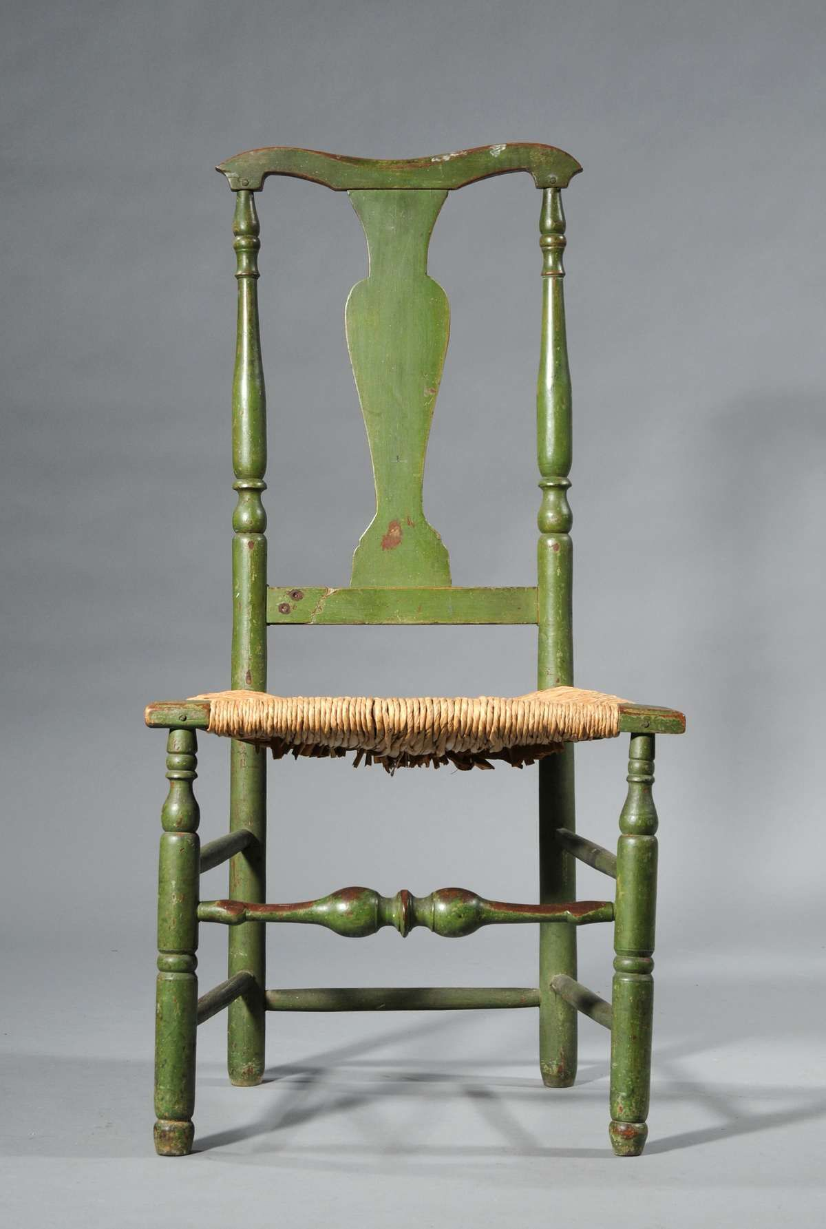 18th C country Queen Anne New England sidechair in old apple green paint. Antique  ChairsAntique ... - 18th C Country Queen Anne New England Sidechair In Old Apple Green
