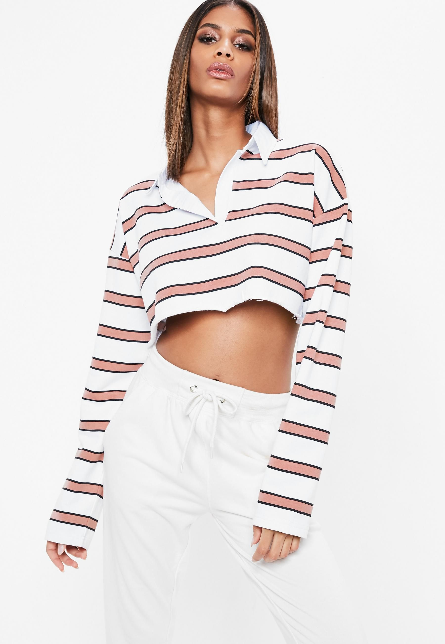33be7ac77a5cd0 White Striped Cropped Rugby Shirt