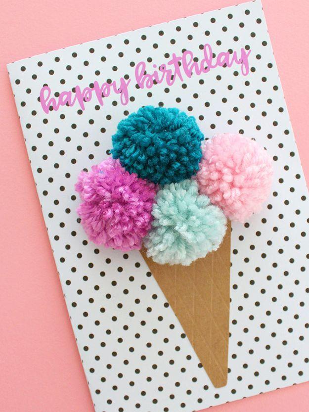 Pom Pom Ice Cream Cone Birthday Card Free Birthday Card