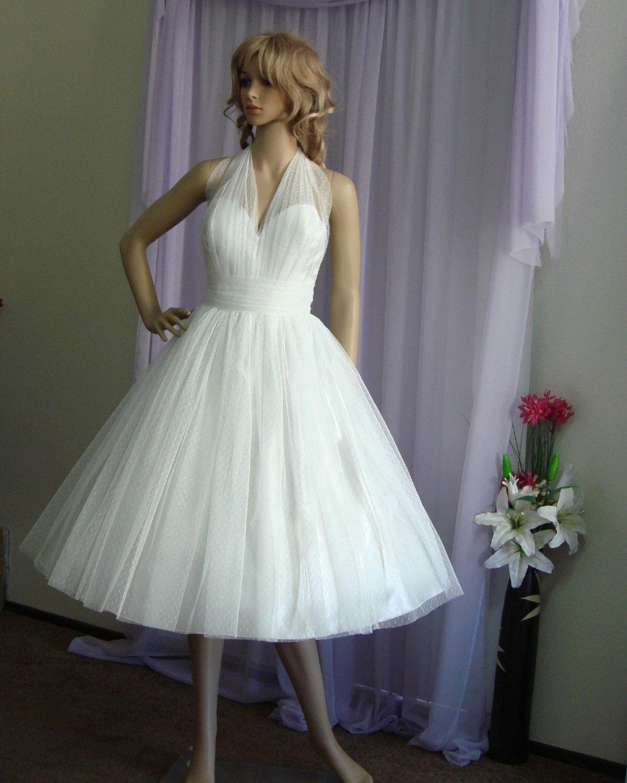 Emma Retro Style Wedding Dress. Tea Length