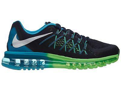 big sale b3922 f83e4 Nike Air Max 2015 Mens 698902-401 Obsidian Blue Green Mesh Running Shoes Sz  7