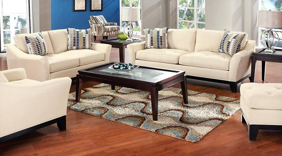 Living Room Set Beige Couch with Blue and Brown Accent ...