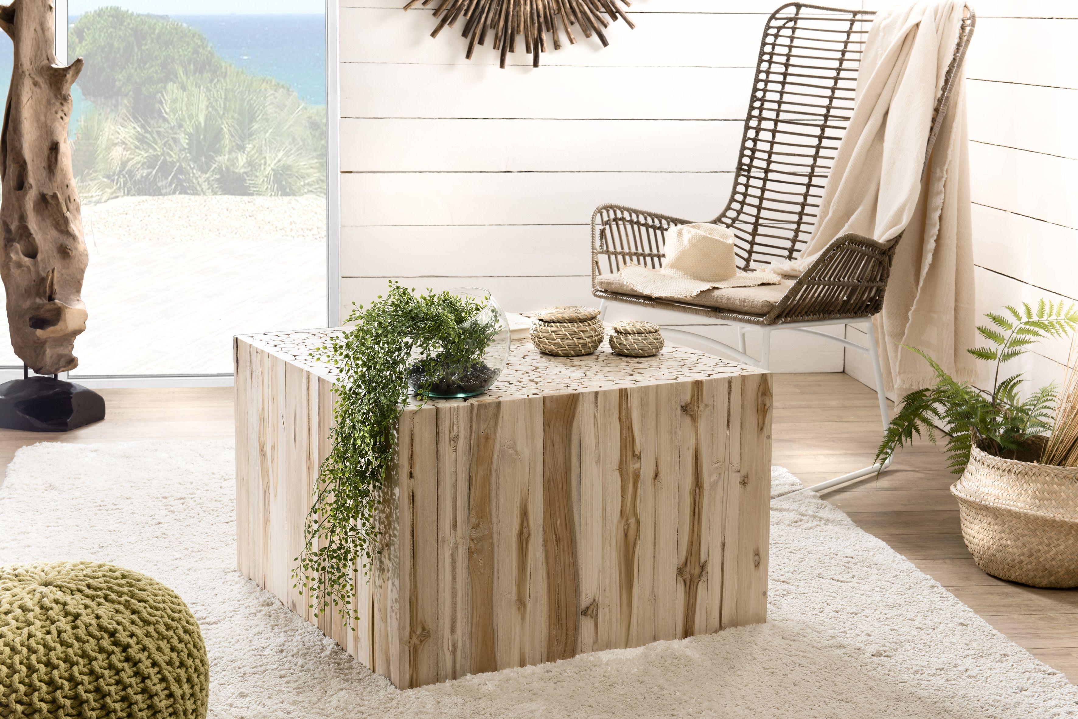 Table basse carrée bois de teck 70x70 cm Jaipur Table