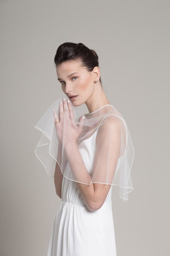 51e22507238e8 Wedding shawl made out of sheer Silk Tulle. The perfect most elagent  Wedding shawl Cape