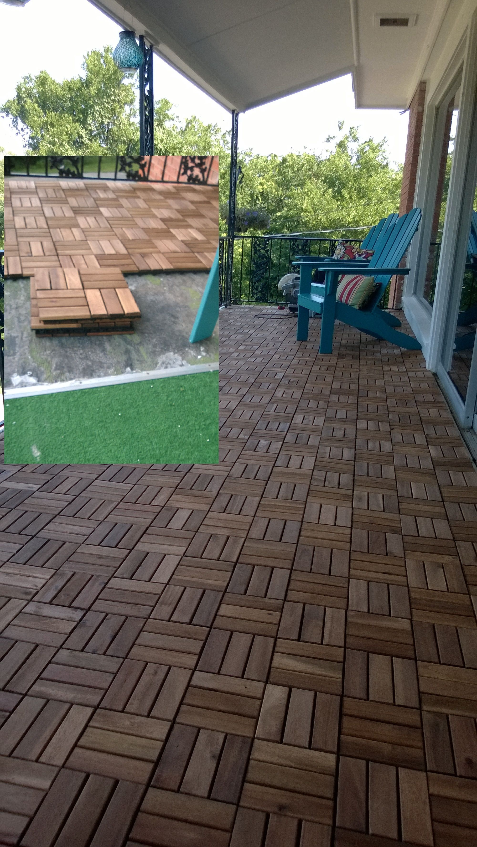 Covered The Many Layers Of Astroturf With Ikea Acacia Deck Tiles