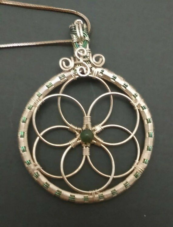046a5af0fef7 Green Niobium and Sterling Silver Wire Wrapped Flower of Life Pendant