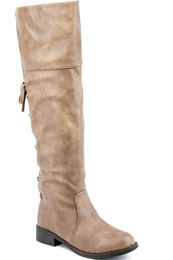 Coffee faux leather back lace design knee high boots