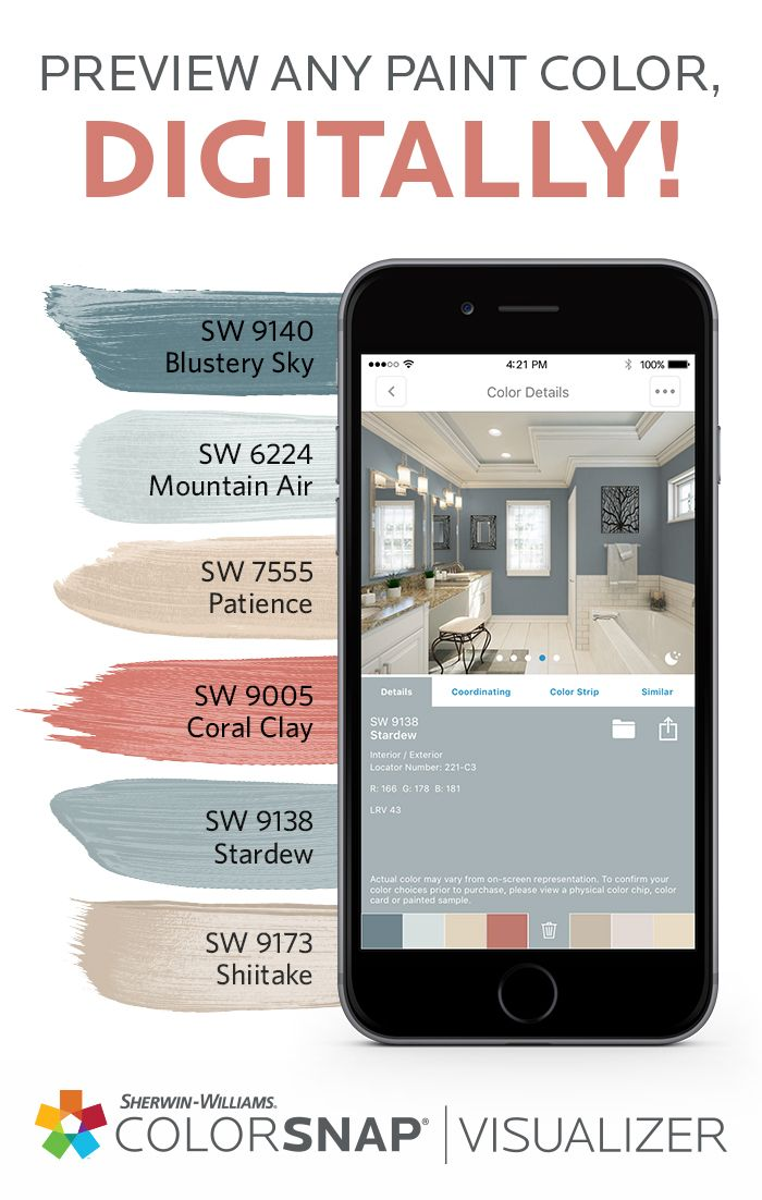 Choose Your Next Diy Paint Color In A Snap With A Variety Of Room Scenes To Choose From Colorsnap Visualizer For Mobile Paint Color App House Color Palettes