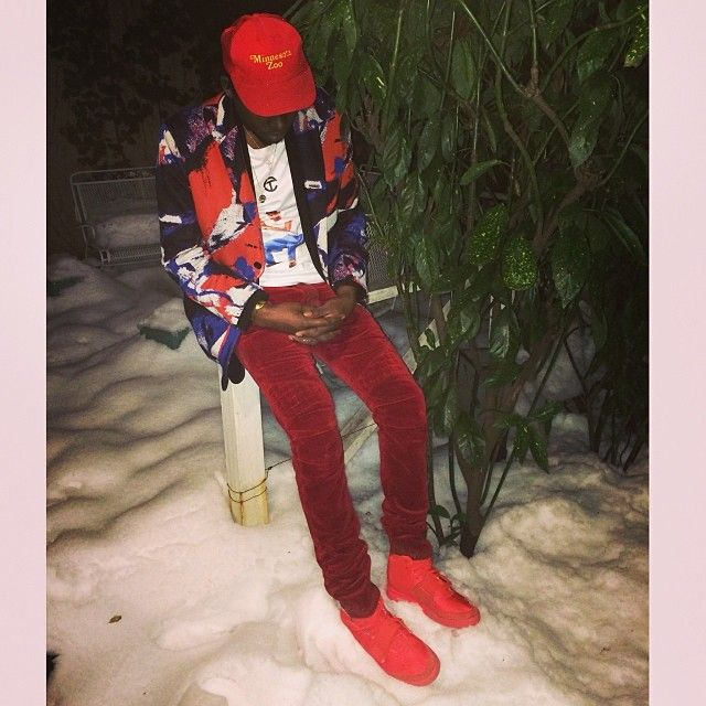 Theophilus London wearing Nike Air Yeezy 2 Red October  4d96a3f7a5