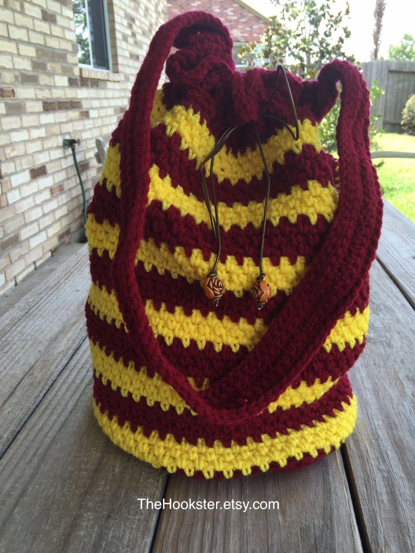 Large Crocheted Harry Potter Bucket Bag, Red & Gold Stripes, Lined, Crochet Book Bag, Drawstring Bag, Gryffindor bag, tote bag, Harry Potter by TheHookster on Etsy
