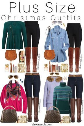 Plus Size Casual Christmas Day Outfit Ideas - Plus Size Jeggings and Boots -…