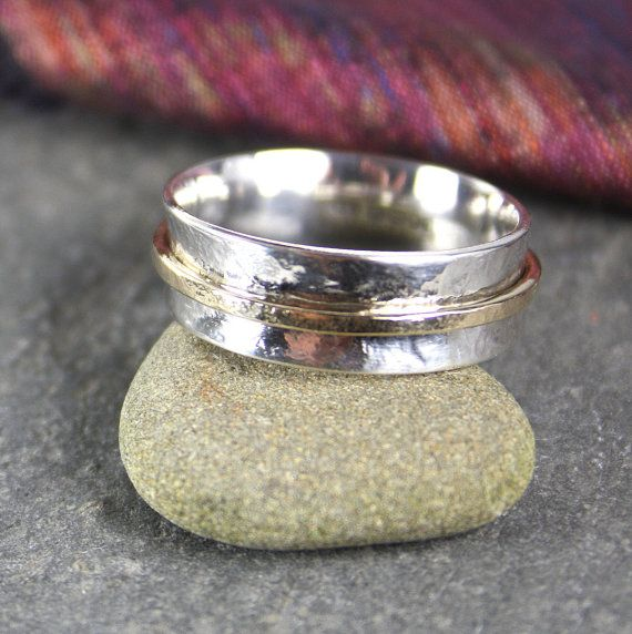 silver and gold spinner ring by DeborahJonesJewelry on Etsy