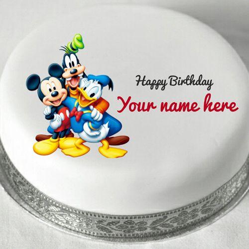 Disney Cartoon Characters Birthday Cake With Name Mickey