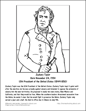 presidents sheets zachary taylor worksheets and coloring pages - Taylor Coloring Pages