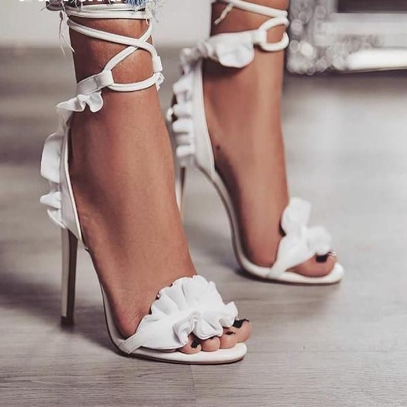 RUFFLED PETAL LACE UP HIGH HEEL SANDAL | Lace up high heels