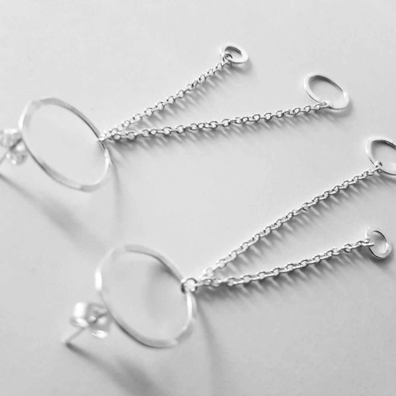 sterling earrings pin stud geometric hanging long hoop oval silver