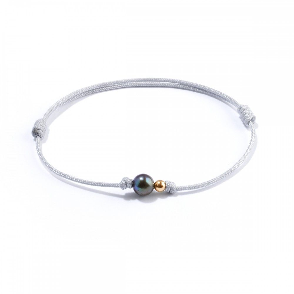 Nylon cord bracelet with gold bead and pearl