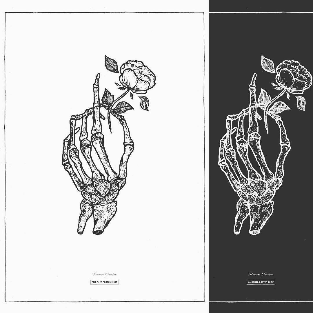 Skeleton Hand Holding Rose Tattoo Hand Tattoos Hand Holding Tattoo