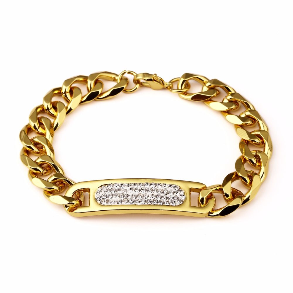 Fashion cm round thick gold man bracelet gold color lobster clasp