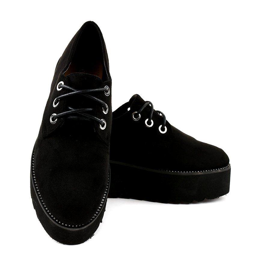 Czarne Creepersy Koturny Damskie 1681 Women S Creepers Black Sneakers Dress Shoes Men