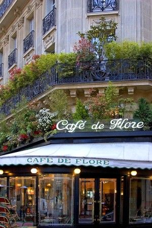 Cafe de Flore, Paris - this is near to the Jardins de Luxembourg in gay Paris.  I drank a hot choc there it's on a huge corner.