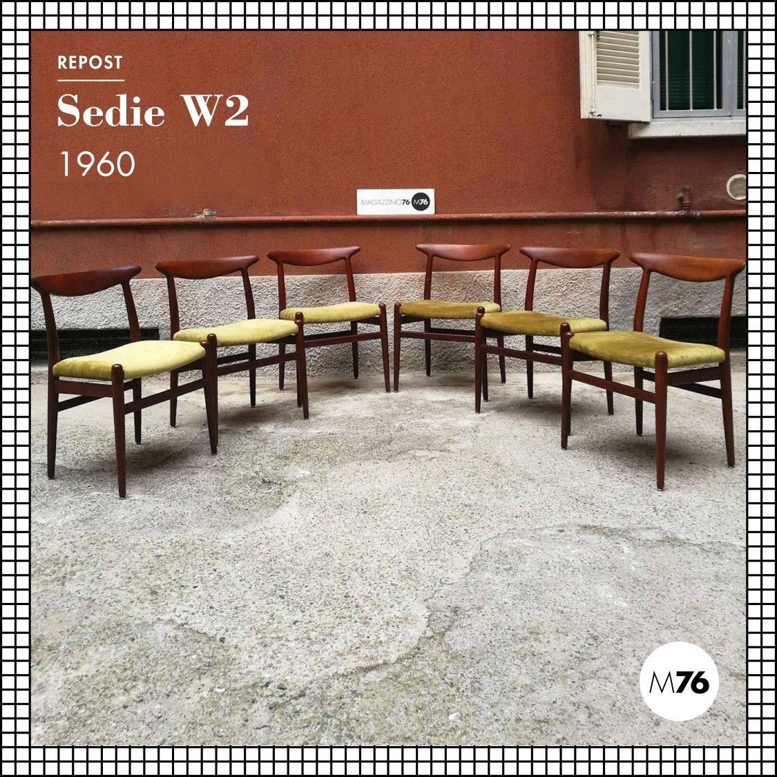 Set di sei sedie danesi, struttura in teak massello e ...