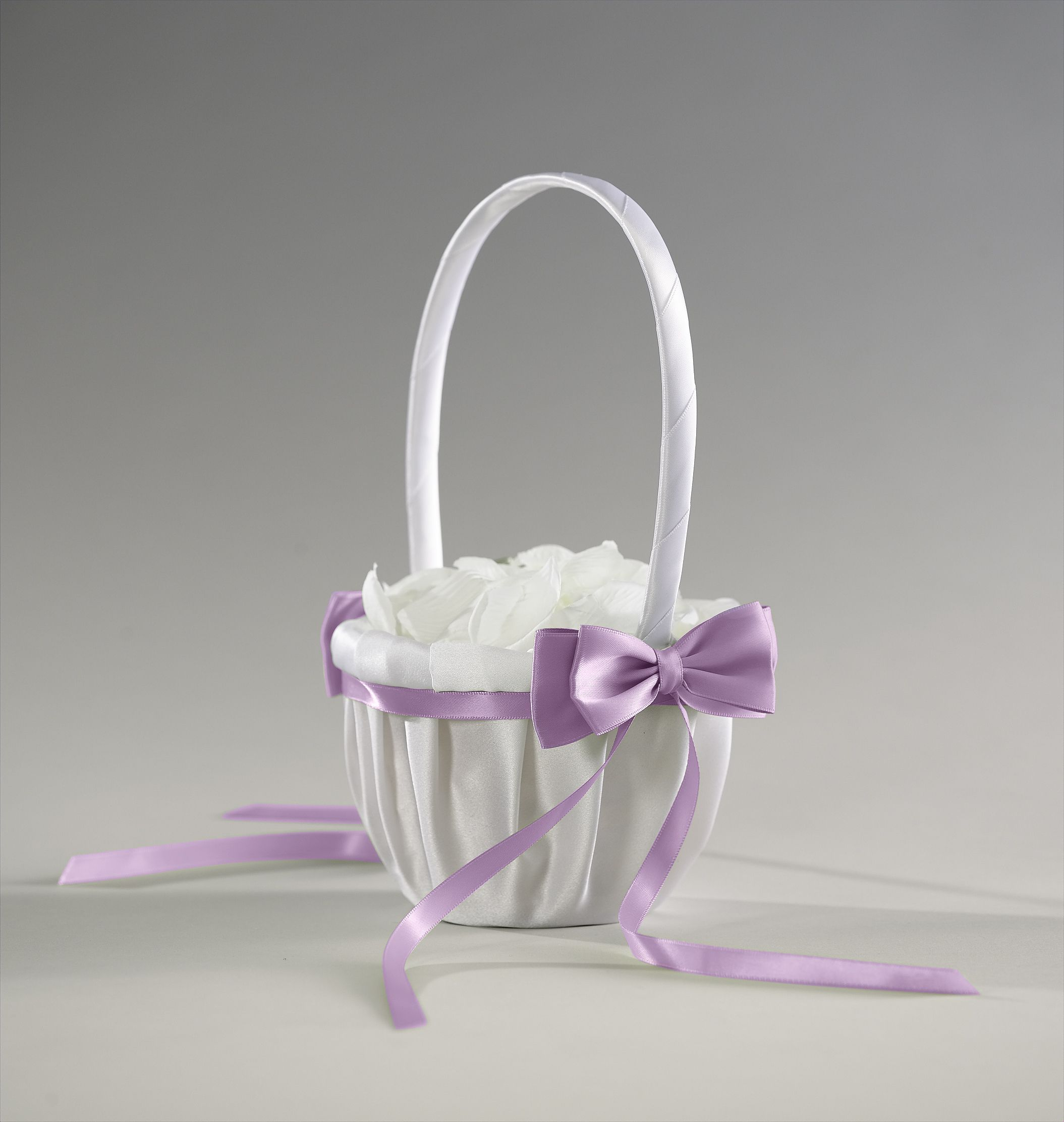 LILIAN ROSE* LARGE ROUND CREAM SATIN  FLOWER GIRL BASKET