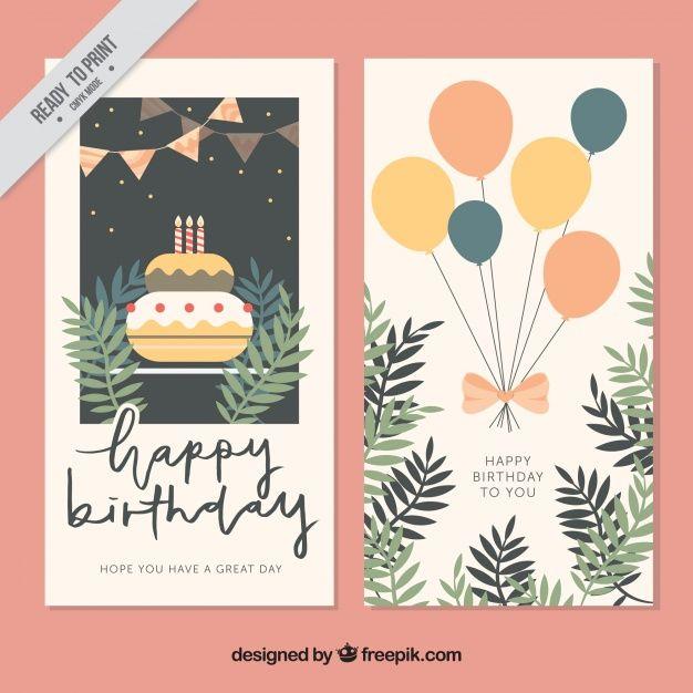 cartões do vintage com bolo e balões Vetor grátis