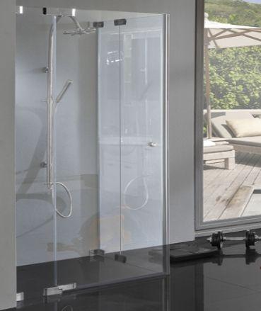 TBXE, Eck Duschkabine Hebe Senk Bodengleich Mit Pendeltüren, 8mm Glas,  Rahmenlos, Chrom