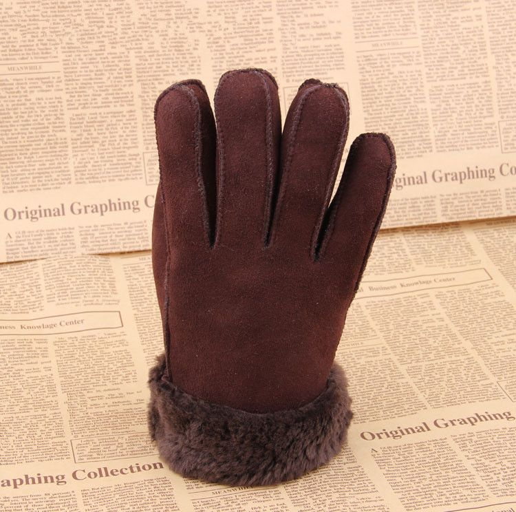 Packages mailed 2014 sheep fur leather gloves one hand stitched sheepskin wool thickening male money super warm wind
