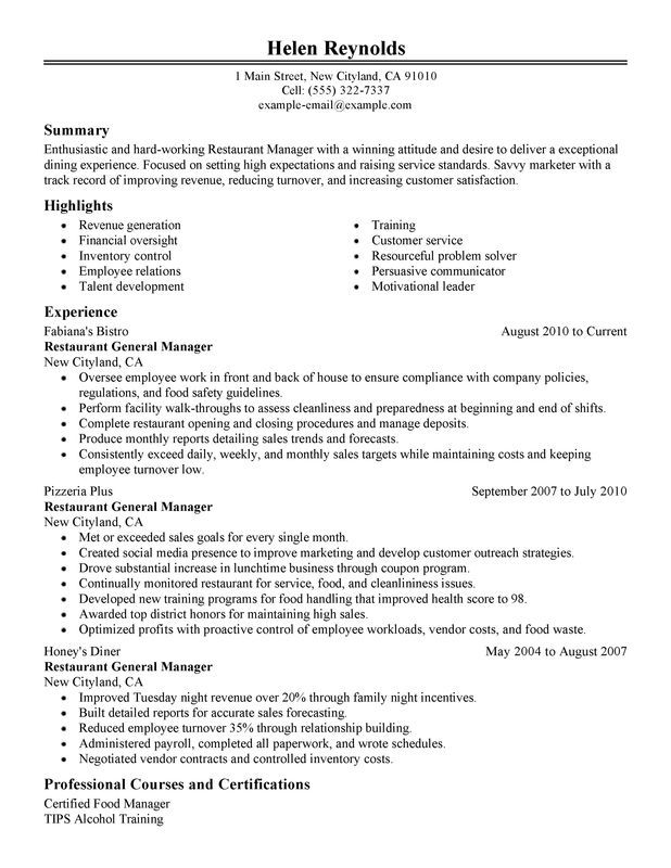 Restaurant Manager Resume Sample Resume Pinterest Restaurant - example of restaurant resume
