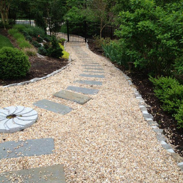 Bluestone With Pea Gravel Walkway Pea Gravel Patio Landscaping With Rocks Walkway Landscaping
