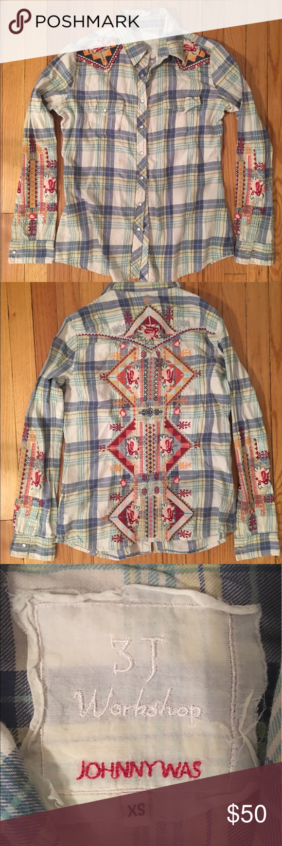 3J Workshop by Johnny Was embroidered plaid shirt Nearly new l, worn 1-2x Johnny Was Tops Button Down Shirts