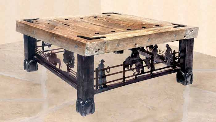 Coffee Table Old American Wild West Cen Call For Price Western Style Fine Art Furnishing Thick Solid Full Length Timber Top