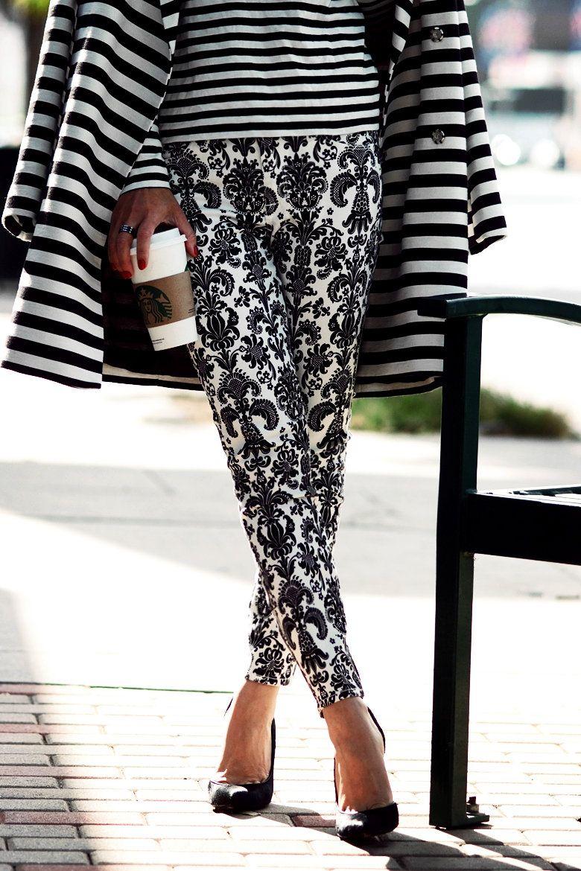 Mix Clash Stripes Black White Baroque Print Style Fashion Repin Repost Pinterest Pins Fashion Street Style Style